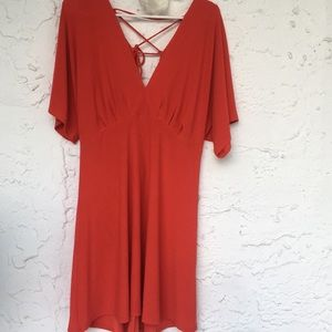 Red dress Lush v neckline and lace up back size L